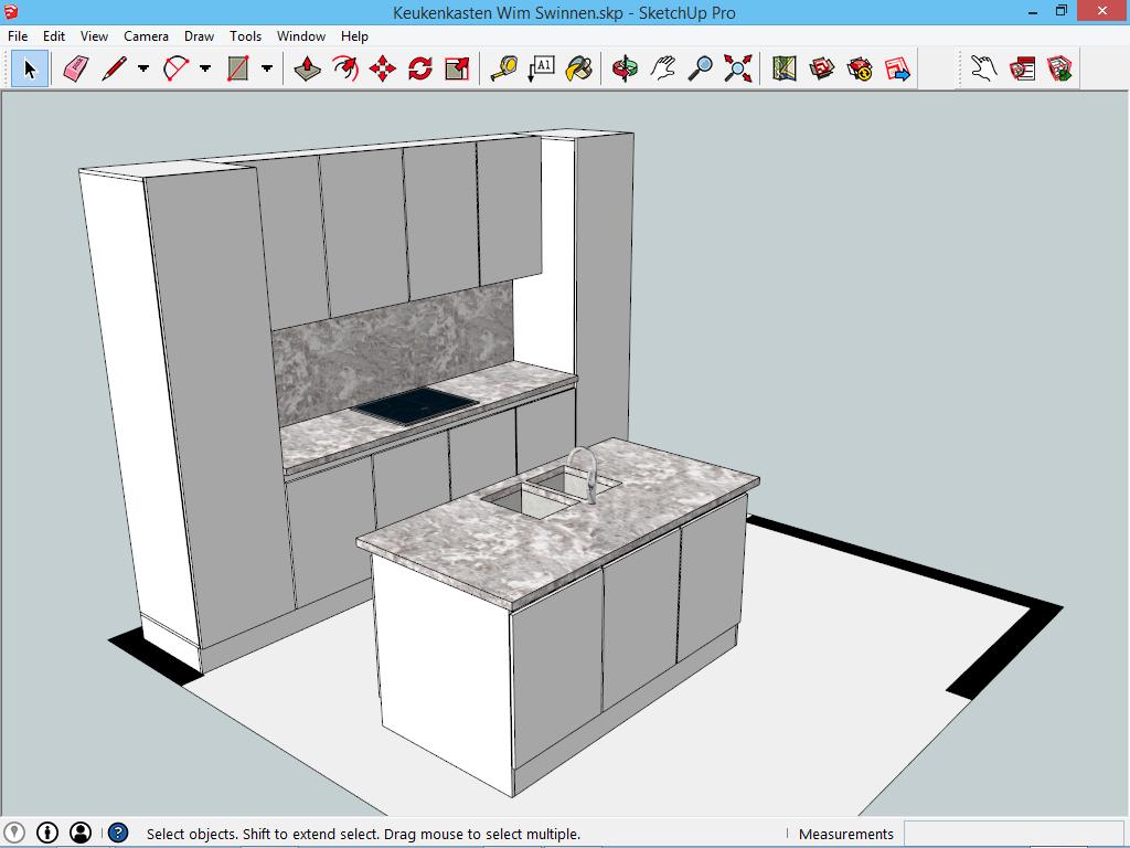 Voorbeeldproject keuken p1 sketchup 3d voor iedereen - Hoe je een centrum eiland keuken te maken ...